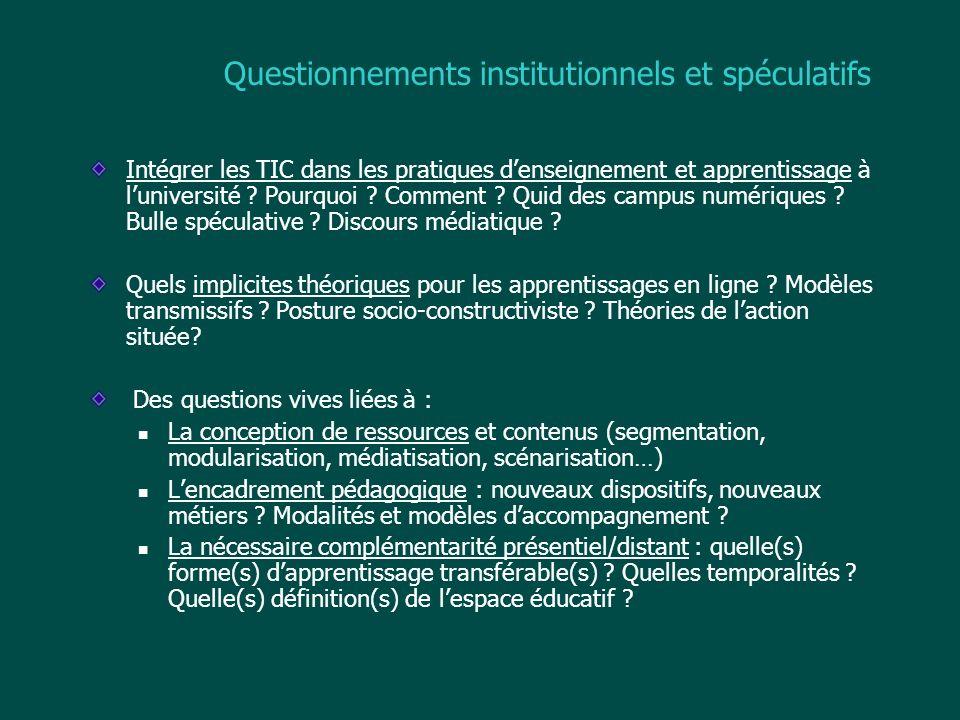Questionnements institutionnels et spéculatifs Intégrer les TIC dans les pratiques denseignement et apprentissage à luniversité ? Pourquoi ? Comment ?