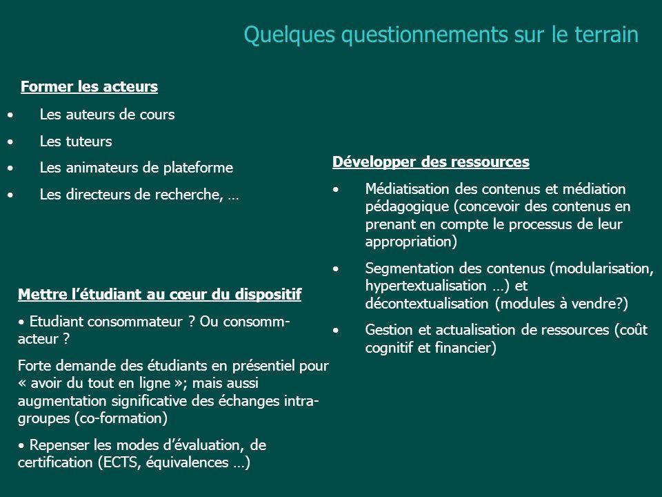 Raisons de cette interrogation Mise en œuvre des campus numériques Discours médiatique et réalité des chantiers 72 projets de campus numériques en France 40 millions de personnes suivraient des études supérieures en ligne, dans le monde (source Le Monde Diplomatique oct.