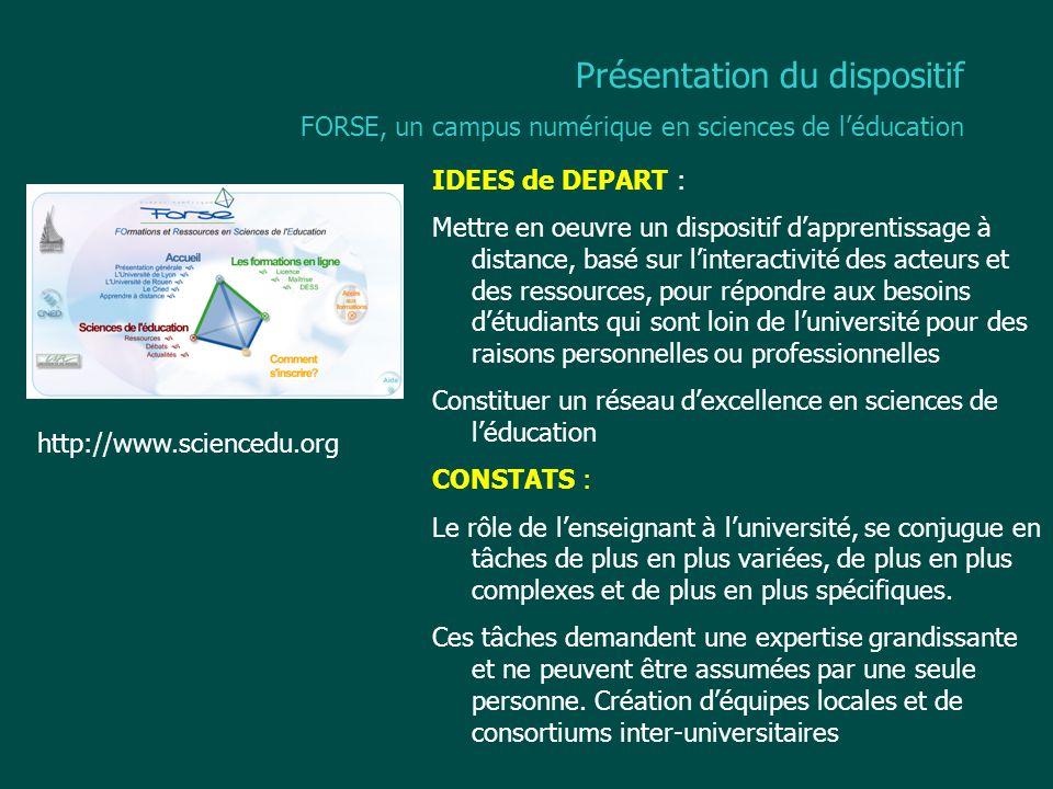 Caractéristiques du campus FORSE Le matériel pédagogique Contenus modulaires et capitalisables.