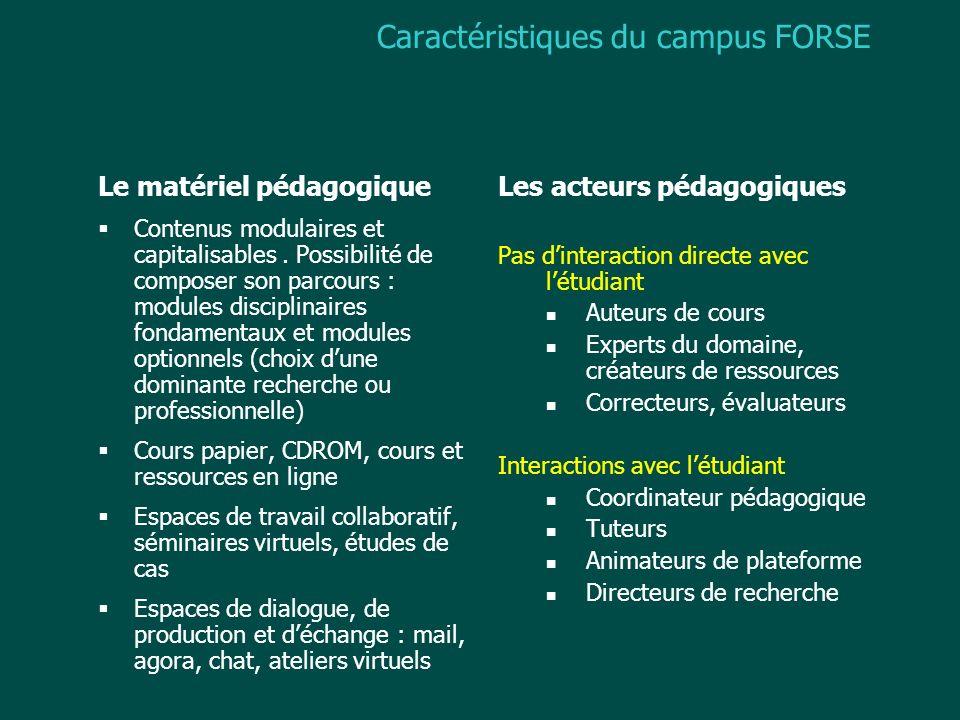 Caractéristiques du campus FORSE Le matériel pédagogique Contenus modulaires et capitalisables. Possibilité de composer son parcours : modules discipl