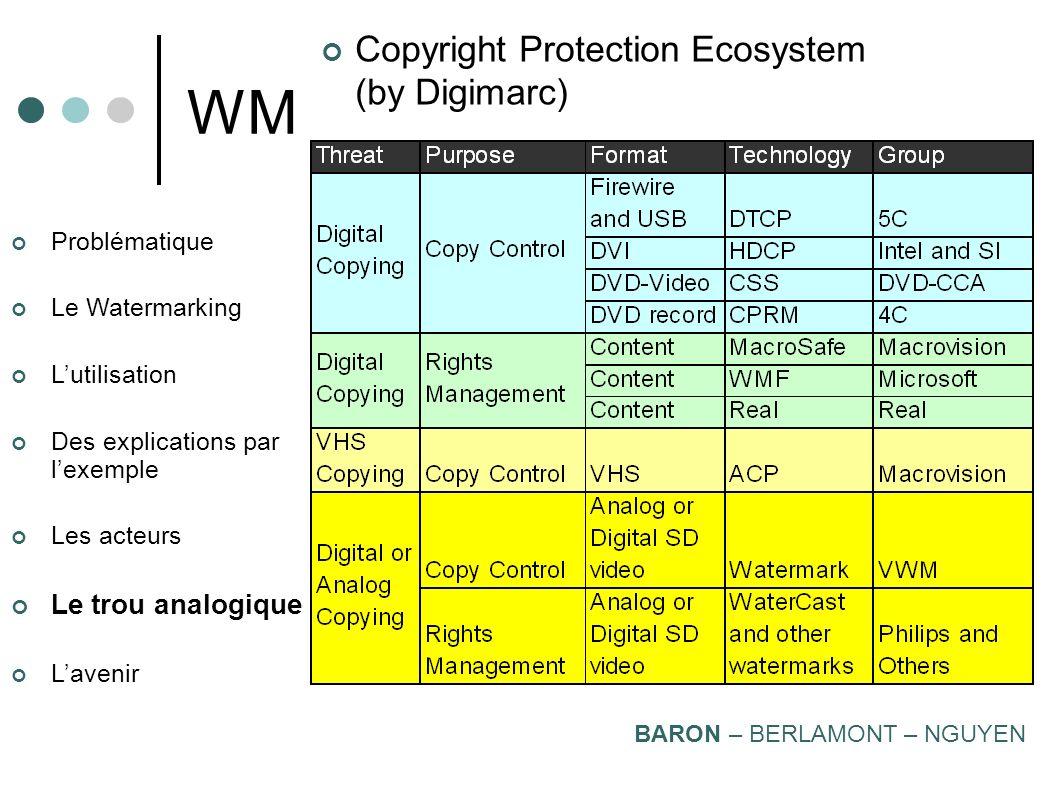 Problématique Le Watermarking Lutilisation Des explications par lexemple Les acteurs Le trou analogique Lavenir WM Organisation Mondiale de la Proprié