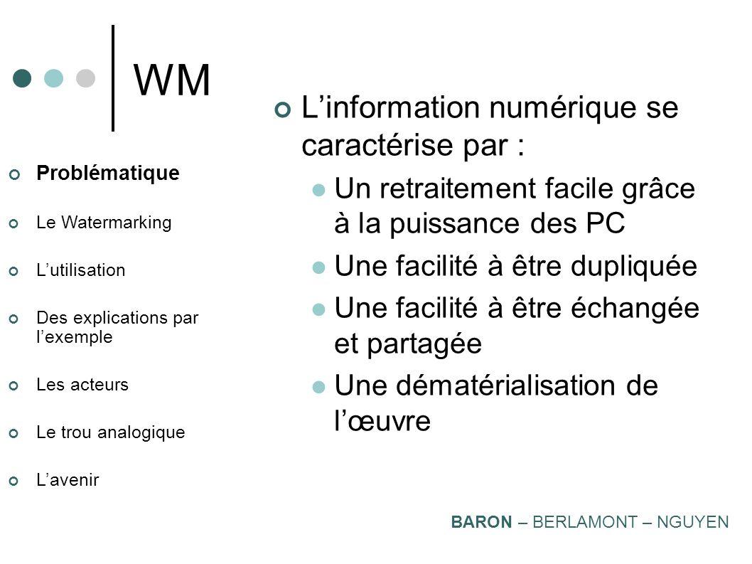 Le Watermarking Stéphane BARON Raphaël BERLAMONT Julien NGUYEN Masters Epita 2004