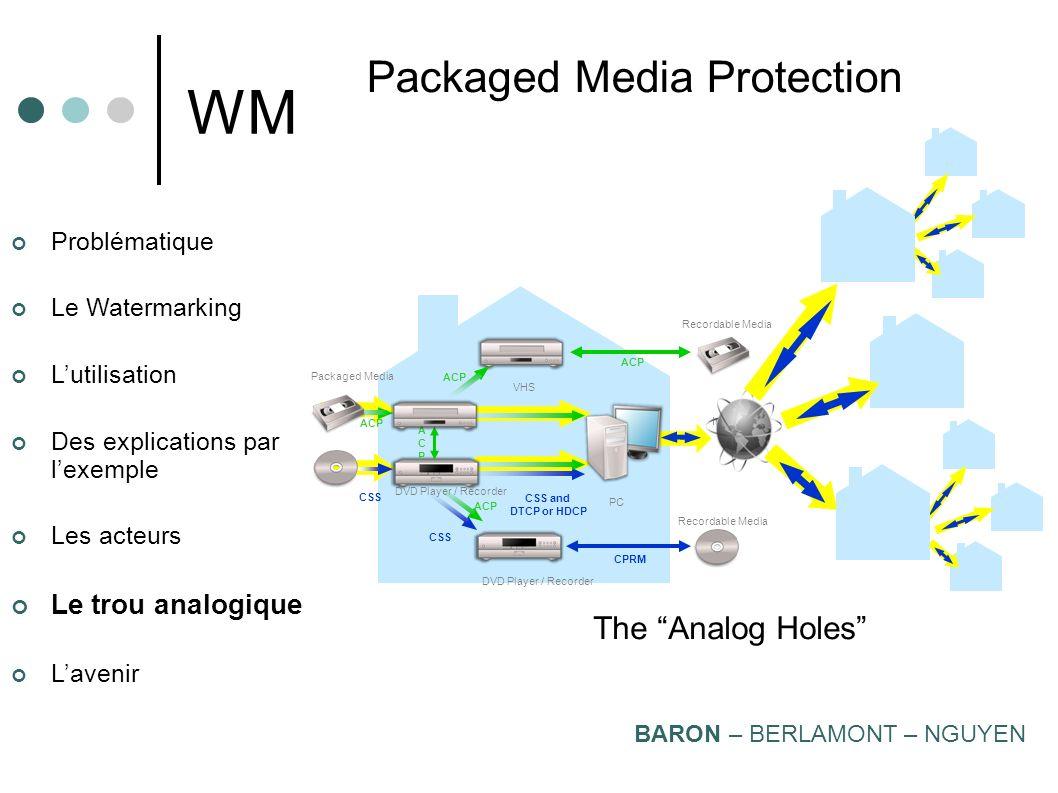 Problématique Le Watermarking Lutilisation Des explications par lexemple Les acteurs Le trou analogique Lavenir WM Copyright Protection Ecosystem (by
