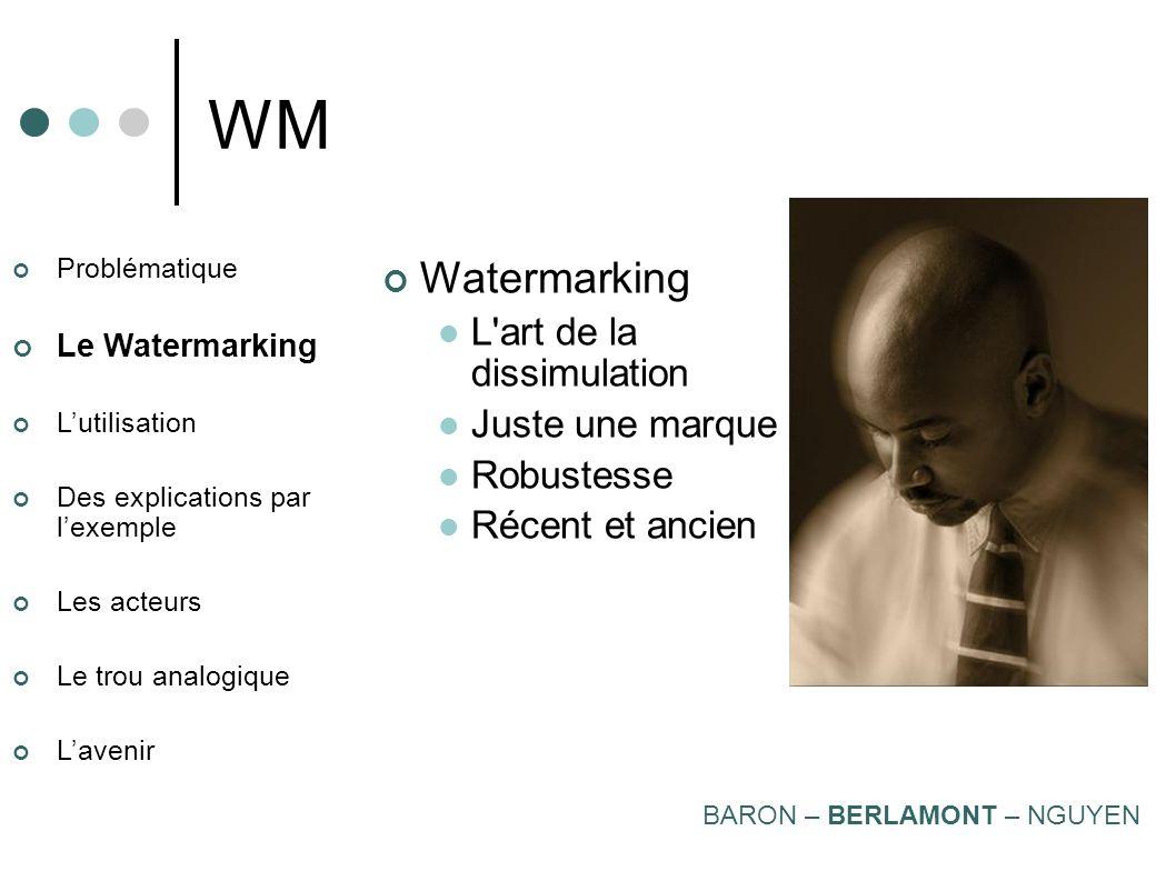 Problématique Le Watermarking Lutilisation Des explications par lexemple Les acteurs Le trou analogique Lavenir WM Stéganographie L'art de cacher Mess