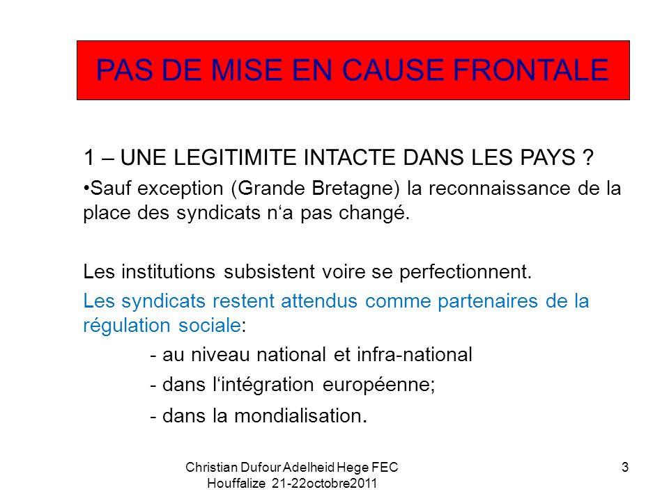 1 – UNE LEGITIMITE INTACTE DANS LES PAYS .