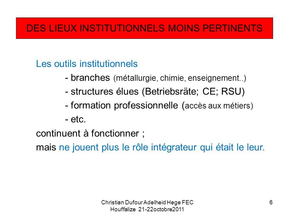 Les outils institutionnels - branches (métallurgie, chimie, enseignement..) - structures élues (Betriebsräte; CE; RSU) - formation professionnelle ( accès aux métiers) - etc.