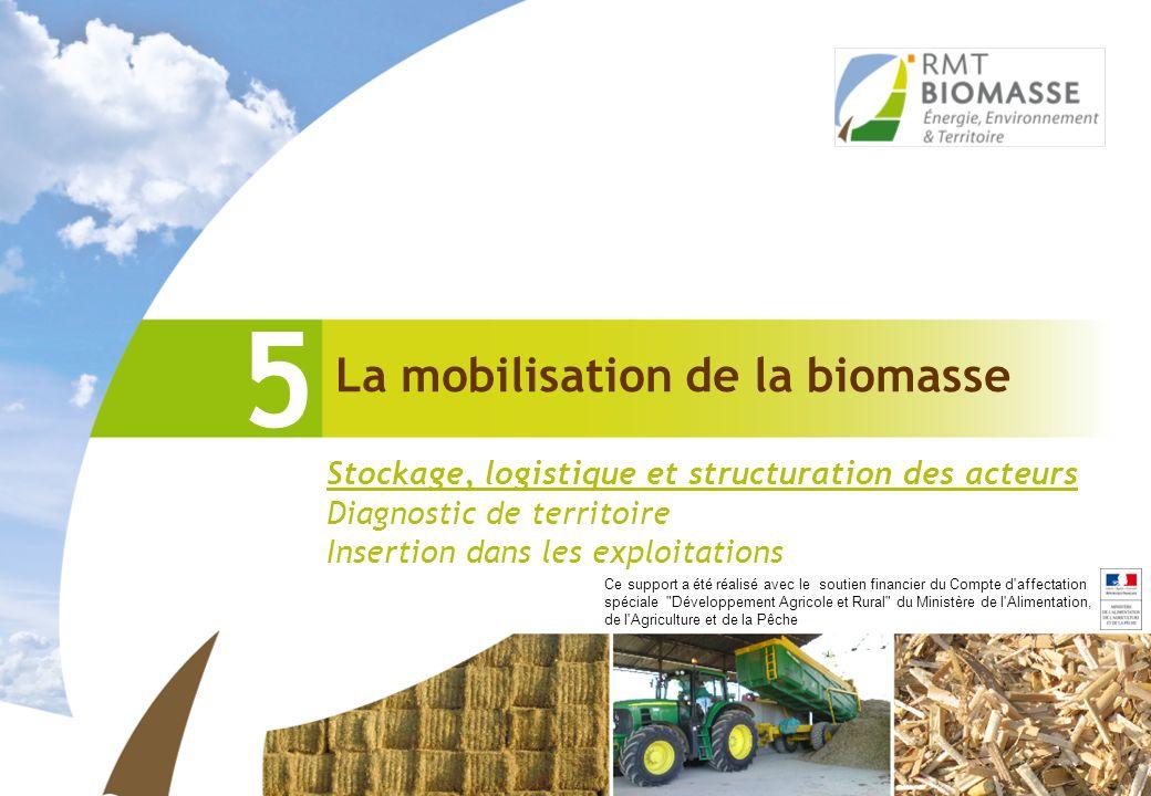 La mobilisation de la biomasse 5 Stockage, logistique et structuration des acteurs Diagnostic de territoire Insertion dans les exploitations Ce suppor