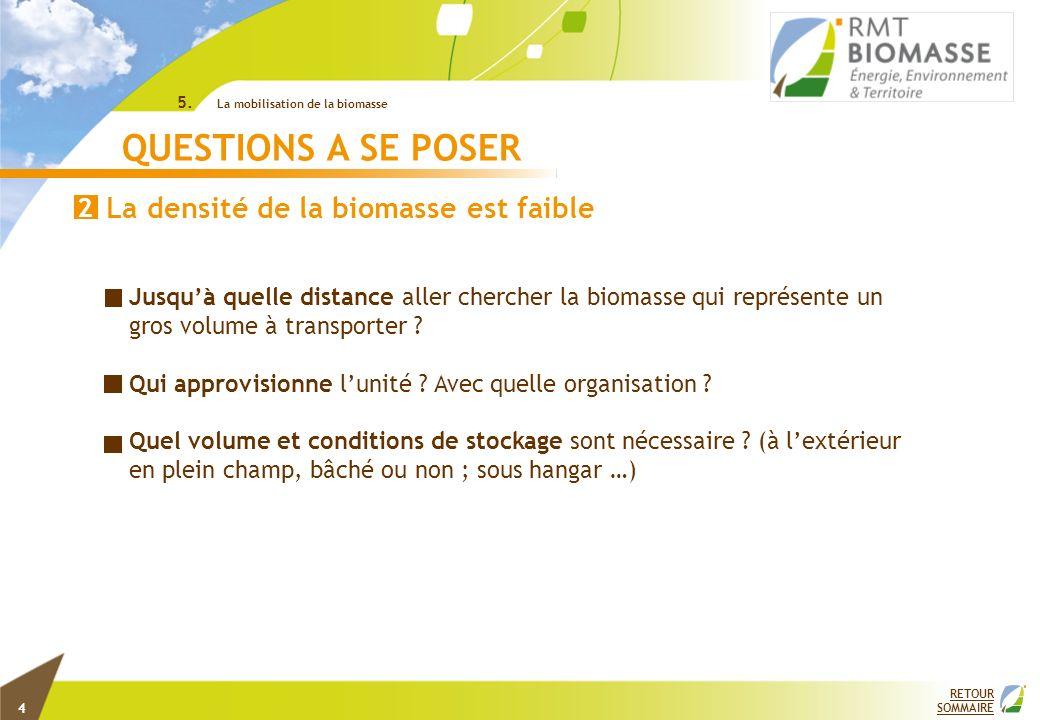 RETOUR SOMMAIRE QUESTIONS A SE POSER Jusquà quelle distance aller chercher la biomasse qui représente un gros volume à transporter ? Qui approvisionne
