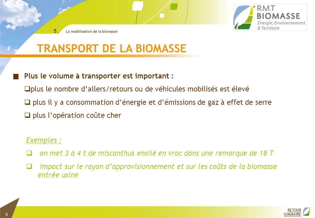 RETOUR SOMMAIRE TRANSPORT DE LA BIOMASSE Exemples : on met 3 à 4 t de miscanthus ensilé en vrac dans une remorque de 18 T impact sur le rayon dapprovi