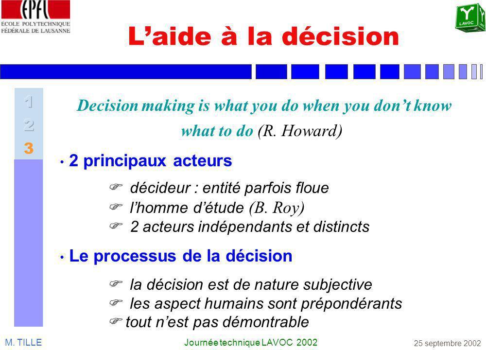 M. TILLEJournée technique LAVOC 2002 25 septembre 2002 Laide à la décision Decision making is what you do when you dont know what to do (R. Howard) 2