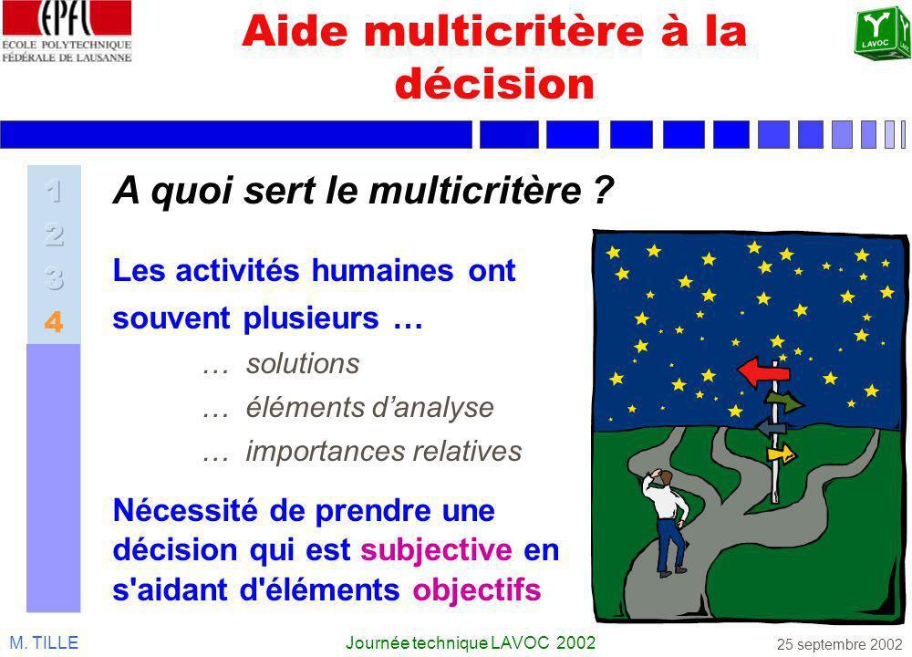 M. TILLEJournée technique LAVOC 2002 25 septembre 2002 Aide multicritère à la décision Les activités humaines ont souvent plusieurs … … solutions … él