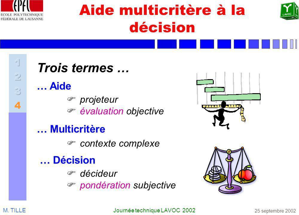 M. TILLEJournée technique LAVOC 2002 25 septembre 2002 Aide multicritère à la décision … Multicritère contexte complexe … Décision décideur pondératio