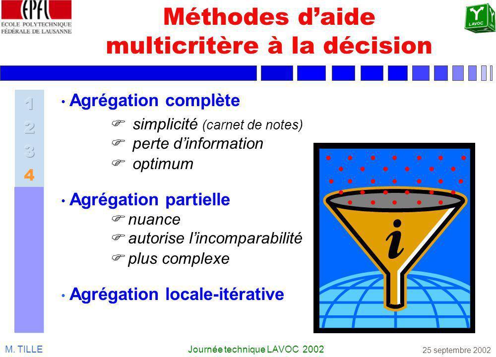 M. TILLEJournée technique LAVOC 2002 25 septembre 2002 Méthodes daide multicritère à la décision Agrégation complète simplicité (carnet de notes) pert