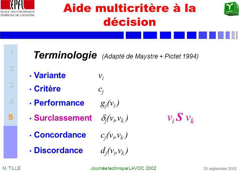M. TILLEJournée technique LAVOC 2002 25 septembre 2002 Aide multicritère à la décision Variante v i Critère c j Performance g j (v i ) Surclassement j