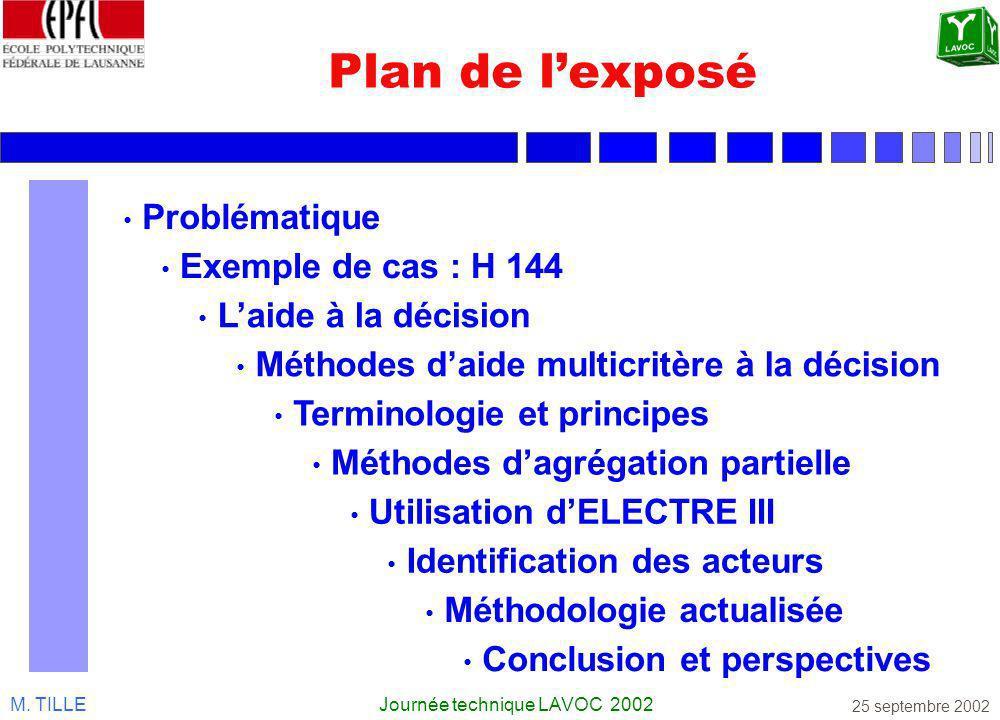 M. TILLEJournée technique LAVOC 2002 25 septembre 2002 Plan de lexposé Problématique Exemple de cas : H 144 Laide à la décision Terminologie et princi