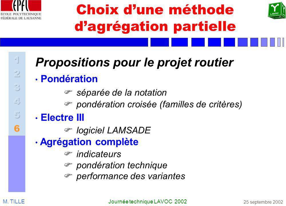 M. TILLEJournée technique LAVOC 2002 25 septembre 2002 Choix dune méthode dagrégation partielle Propositions pour le projet routier Pondération séparé