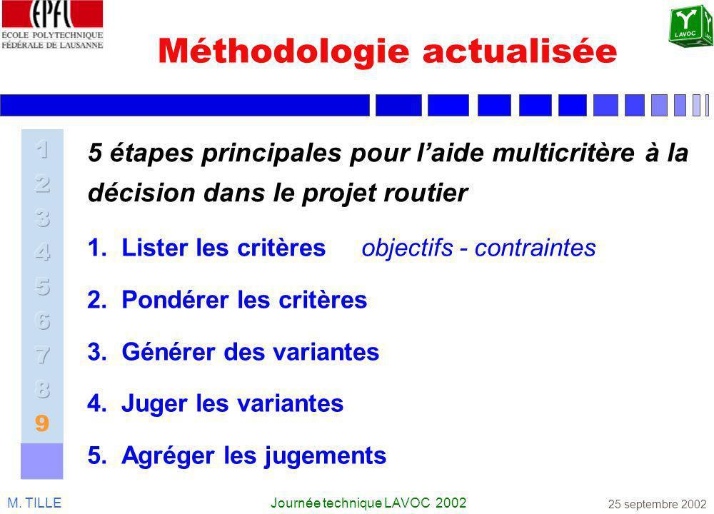 M. TILLEJournée technique LAVOC 2002 25 septembre 2002 Méthodologie actualisée 5 étapes principales pour laide multicritère à la décision dans le proj
