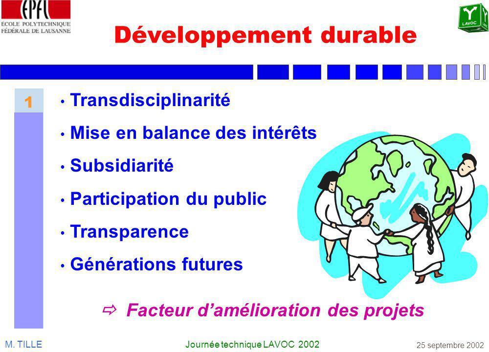 M. TILLEJournée technique LAVOC 2002 25 septembre 2002 Développement durable Transdisciplinarité Mise en balance des intérêts Subsidiarité Participati