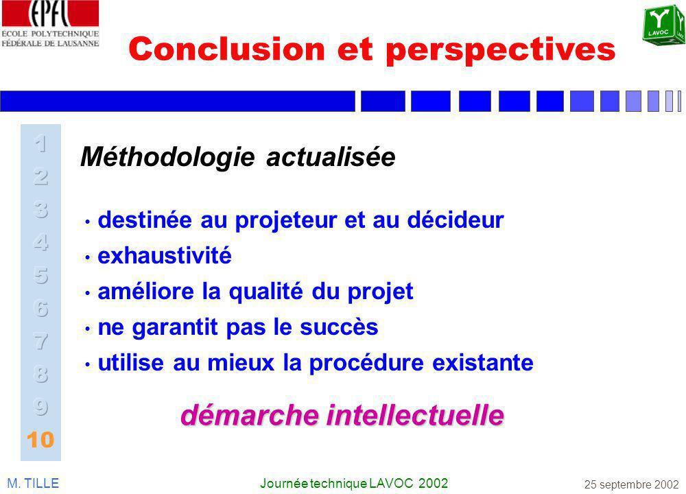 M. TILLEJournée technique LAVOC 2002 25 septembre 2002 Conclusion et perspectives destinée au projeteur et au décideur exhaustivité améliore la qualit