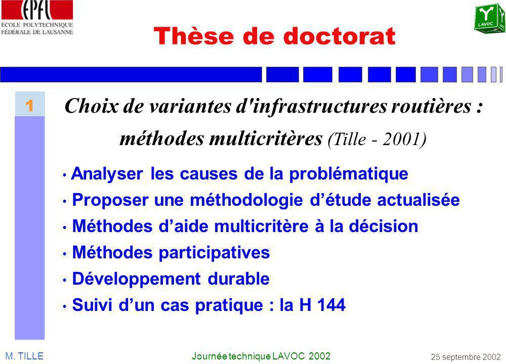 M. TILLEJournée technique LAVOC 2002 25 septembre 2002 Thèse de doctorat Choix de variantes d'infrastructures routières : méthodes multicritères (Till
