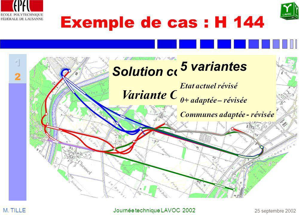 M. TILLEJournée technique LAVOC 2002 25 septembre 2002 Exemple de cas : H 144 Solution consensuelle Variante COPIL 1999 5 variantes Etat actuel révisé