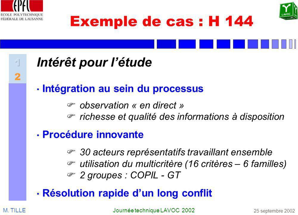 M. TILLEJournée technique LAVOC 2002 25 septembre 2002 Exemple de cas : H 144 Intégration au sein du processus observation « en direct » richesse et q