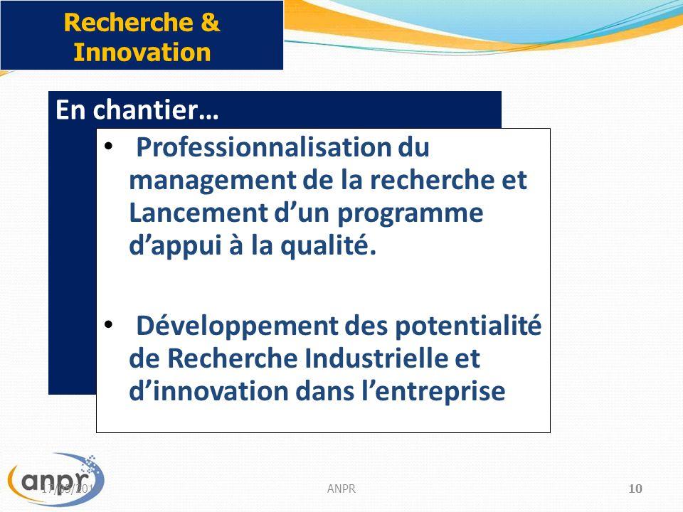 17/05/2014ANPR10 Recherche & Innovation En chantier… Professionnalisation du management de la recherche et Lancement dun programme dappui à la qualité.