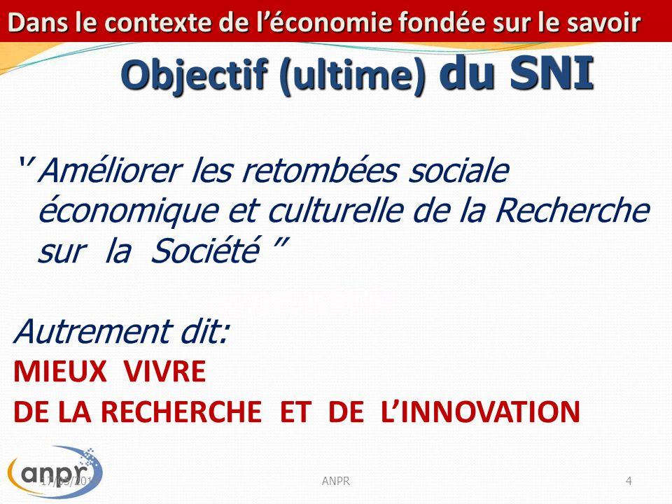 17/05/2014ANPR15 Mobilisation Financière En chantier… Améliorer lenvironnement propice à linvestissement privé dans la R&I Améliorer laccès au financement notamment pour lincubation et lentrepreneuriat innovant.