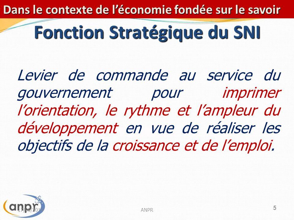 5 Fonction Stratégique du SNI Levier de commande au service du gouvernement pour imprimer lorientation, le rythme et lampleur du développement en vue de réaliser les objectifs de la croissance et de lemploi.