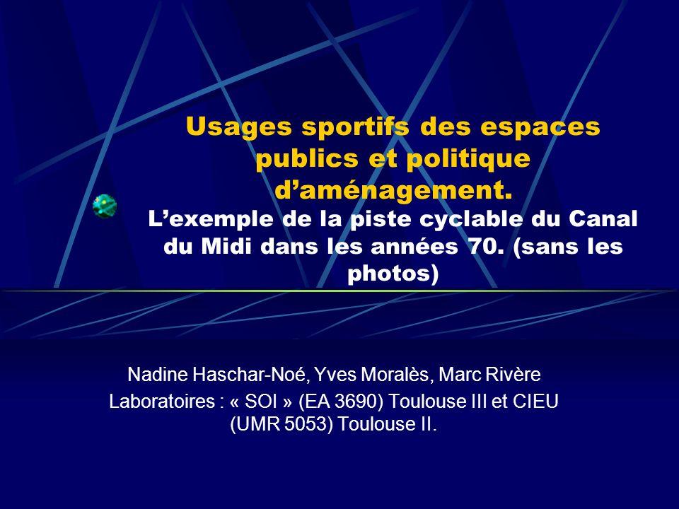 Usages sportifs des espaces publics et politique daménagement.