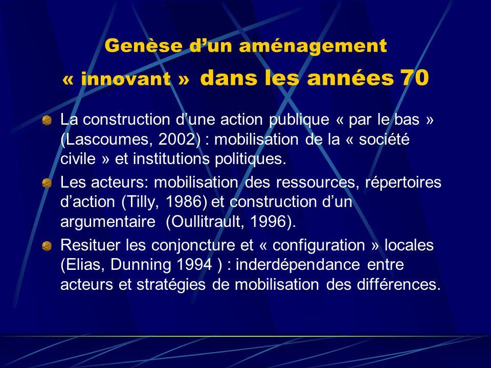 Genèse dun aménagement « innovant » dans les années 70 La construction dune action publique « par le bas » (Lascoumes, 2002) : mobilisation de la « société civile » et institutions politiques.