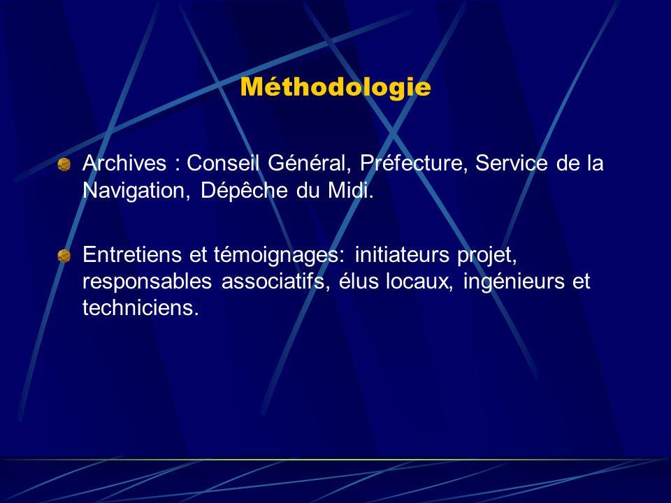 Méthodologie Archives : Conseil Général, Préfecture, Service de la Navigation, Dépêche du Midi.