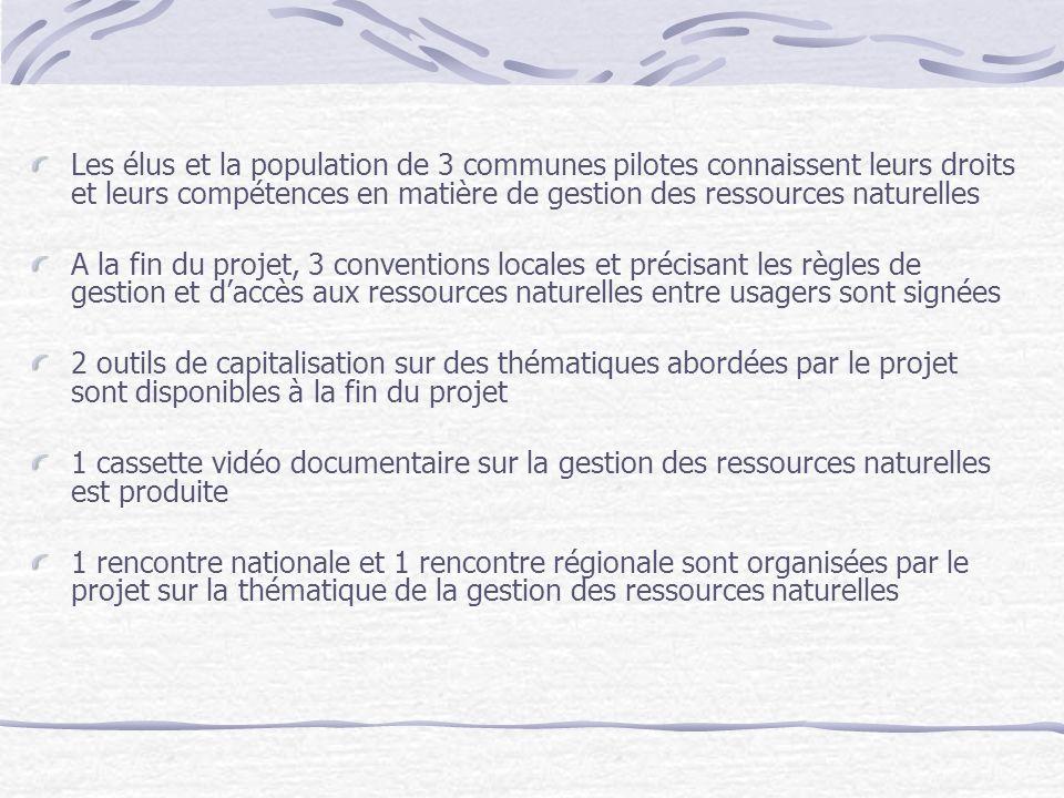 Les élus et la population de 3 communes pilotes connaissent leurs droits et leurs compétences en matière de gestion des ressources naturelles A la fin