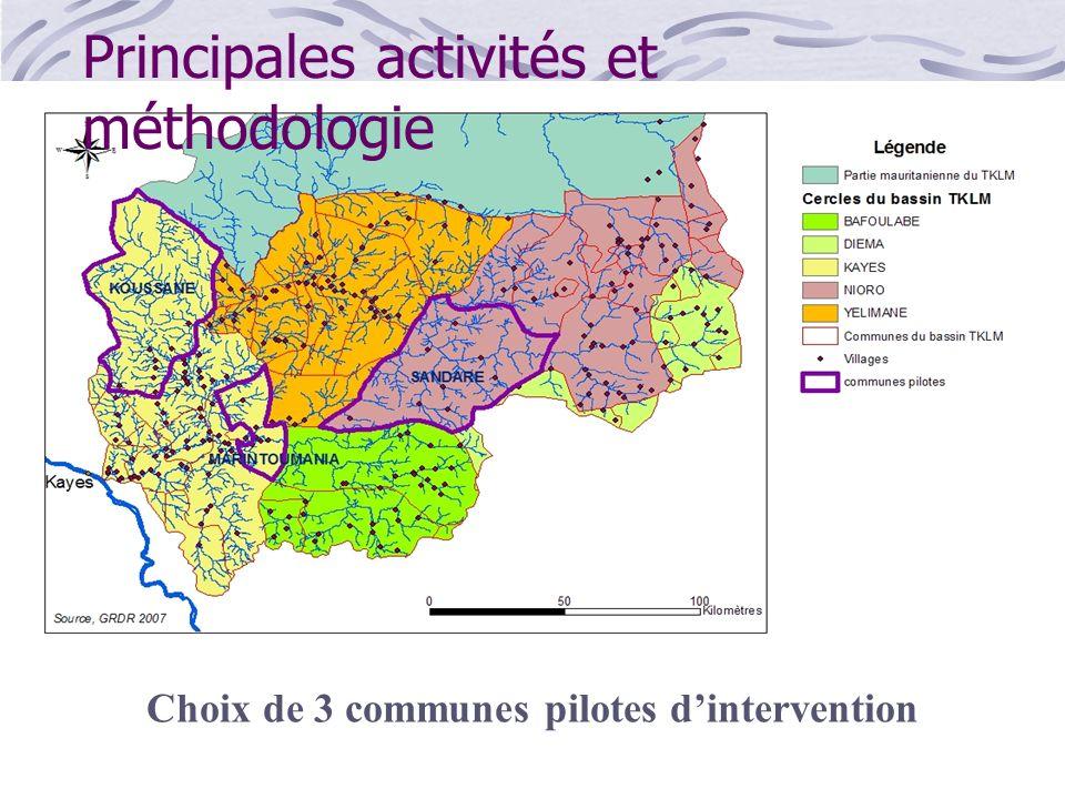 Zone dintervention Choix de 3 communes pilotes dintervention Principales activités et méthodologie