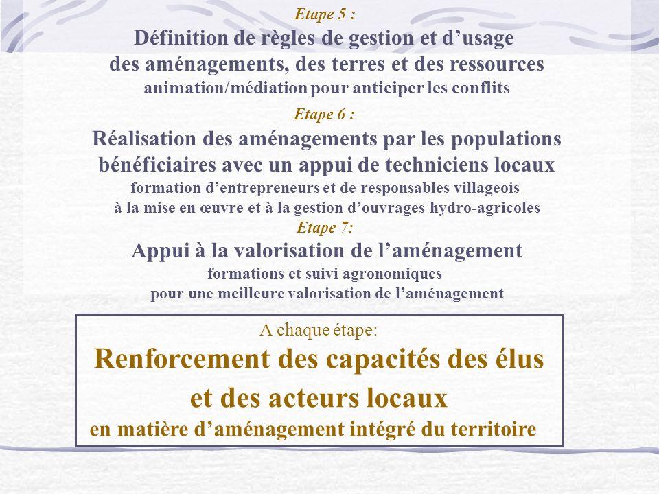 Etape 5 : Définition de règles de gestion et dusage des aménagements, des terres et des ressources animation/médiation pour anticiper les conflits Eta