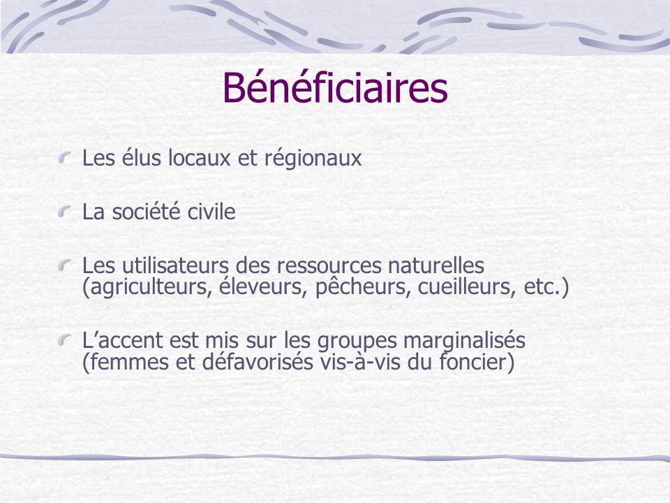 Bénéficiaires Les élus locaux et régionaux La société civile Les utilisateurs des ressources naturelles (agriculteurs, éleveurs, pêcheurs, cueilleurs,