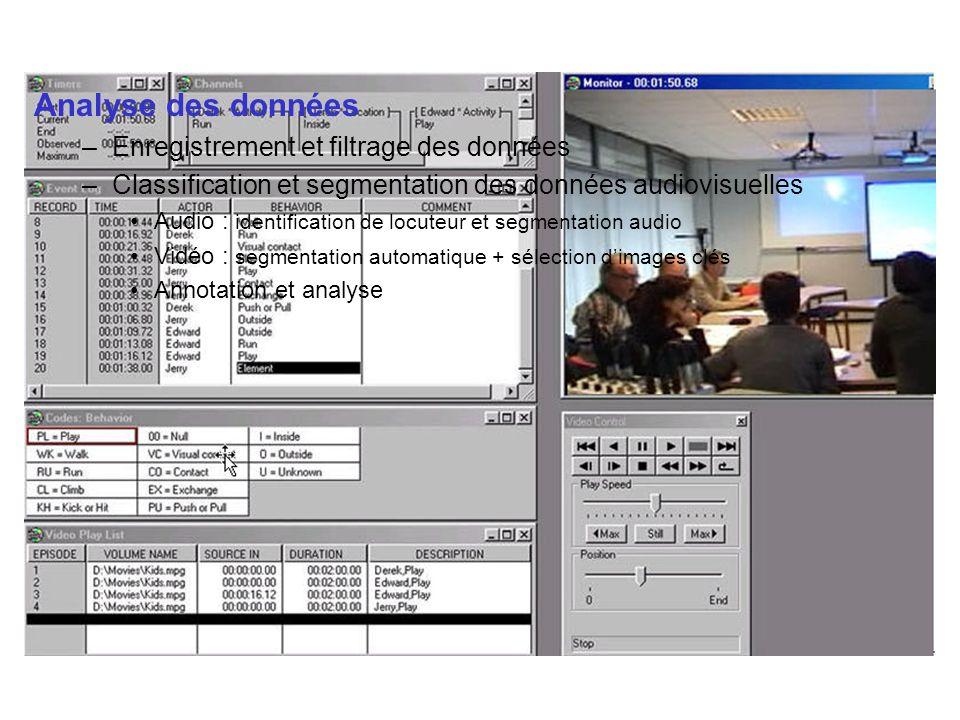 Analyse des données –Enregistrement et filtrage des données –Classification et segmentation des données audiovisuelles Audio : identification de locut
