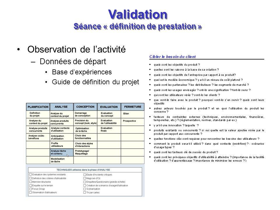 Observation de lactivité –Données de départ Base dexpériences Guide de définition du projet Validation Séance « définition de prestation »