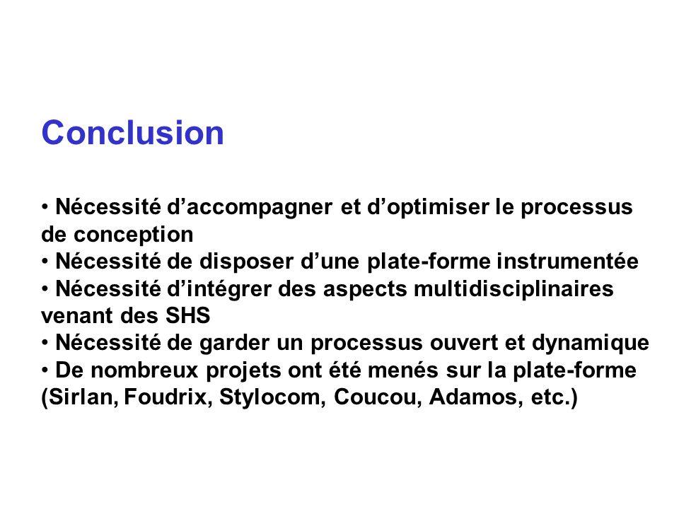 Conclusion Nécessité daccompagner et doptimiser le processus de conception Nécessité de disposer dune plate-forme instrumentée Nécessité dintégrer des