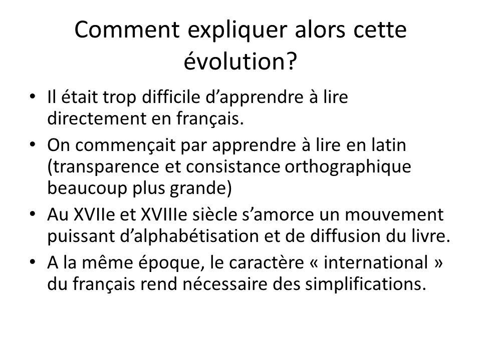 Comment expliquer alors cette évolution? Il était trop difficile dapprendre à lire directement en français. On commençait par apprendre à lire en lati