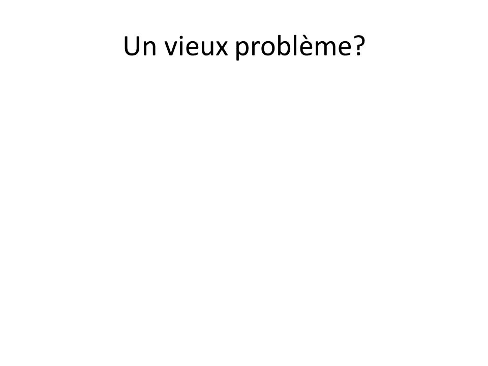 Un vieux problème?