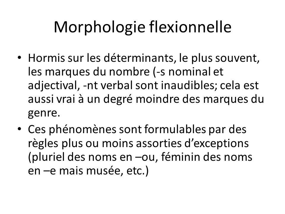 Morphologie flexionnelle Hormis sur les déterminants, le plus souvent, les marques du nombre (-s nominal et adjectival, -nt verbal sont inaudibles; cela est aussi vrai à un degré moindre des marques du genre.