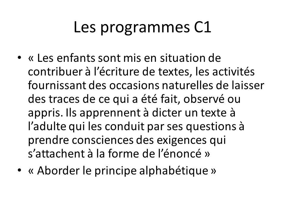 Les programmes C1 « Les enfants sont mis en situation de contribuer à lécriture de textes, les activités fournissant des occasions naturelles de laiss