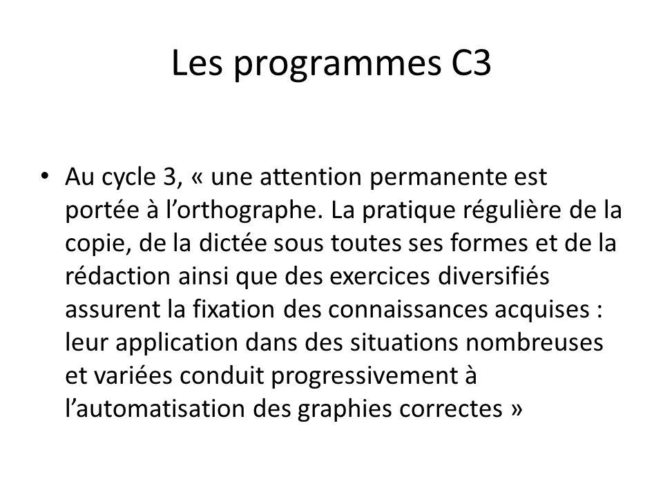 Les programmes C3 Au cycle 3, « une attention permanente est portée à lorthographe. La pratique régulière de la copie, de la dictée sous toutes ses fo