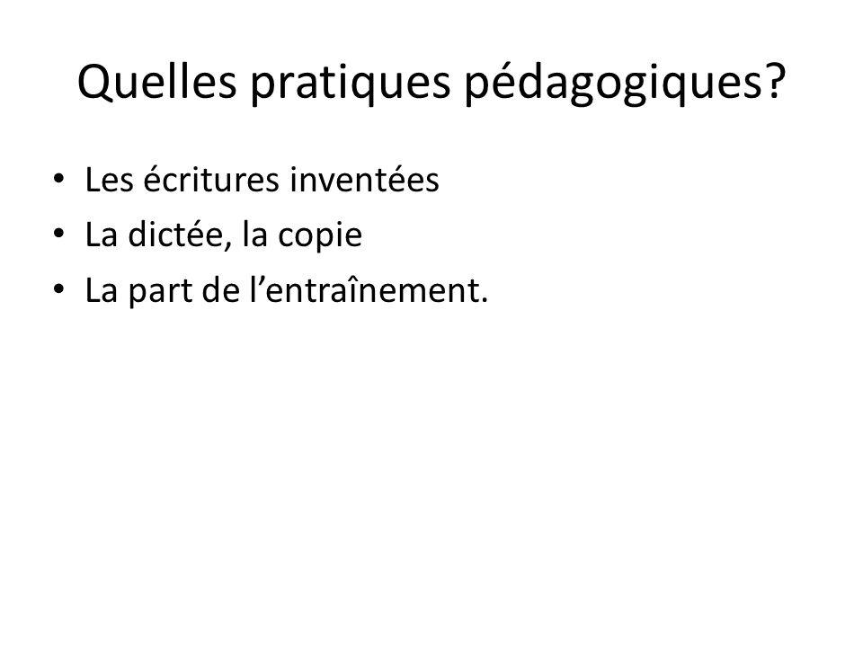 Quelles pratiques pédagogiques? Les écritures inventées La dictée, la copie La part de lentraînement.