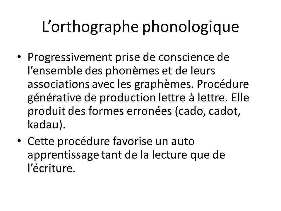 Lorthographe phonologique Progressivement prise de conscience de lensemble des phonèmes et de leurs associations avec les graphèmes. Procédure générat