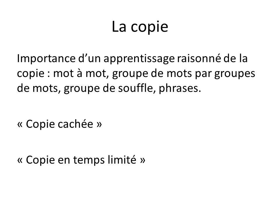 La copie Importance dun apprentissage raisonné de la copie : mot à mot, groupe de mots par groupes de mots, groupe de souffle, phrases.