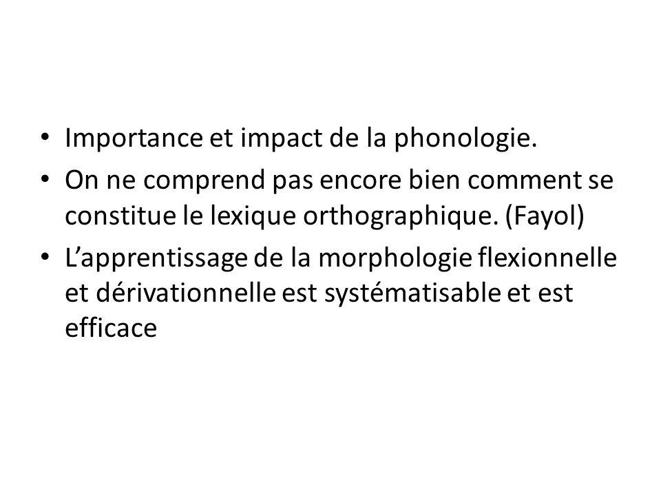 Importance et impact de la phonologie. On ne comprend pas encore bien comment se constitue le lexique orthographique. (Fayol) Lapprentissage de la mor