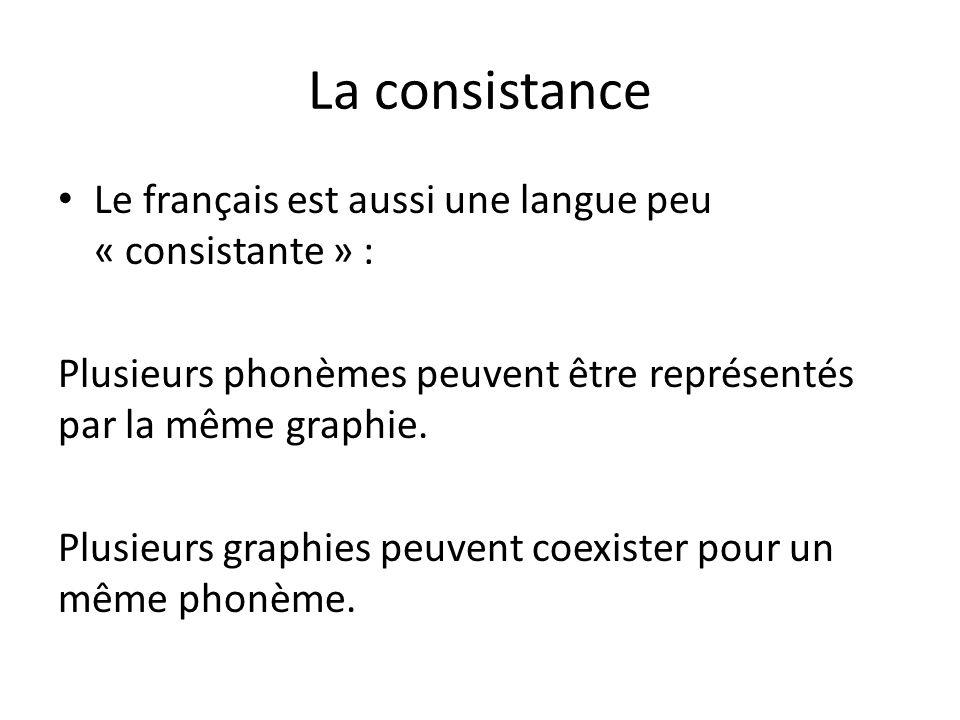 La consistance Le français est aussi une langue peu « consistante » : Plusieurs phonèmes peuvent être représentés par la même graphie.