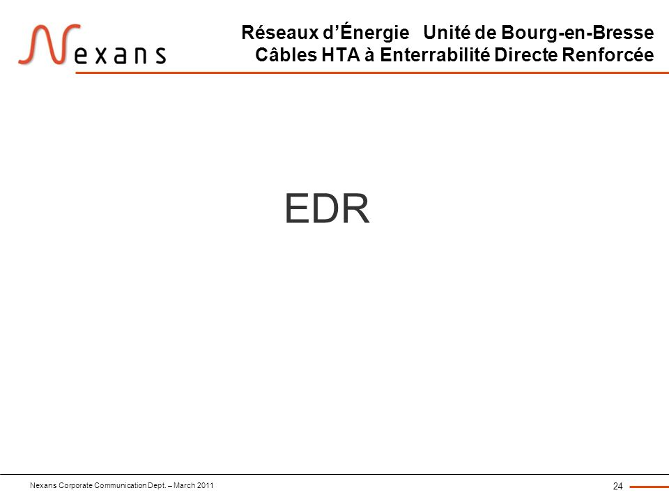 Nexans Corporate Communication Dept. – March 2011 24 Réseaux dÉnergie Unité de Bourg-en-Bresse Câbles HTA à Enterrabilité Directe Renforcée EDR